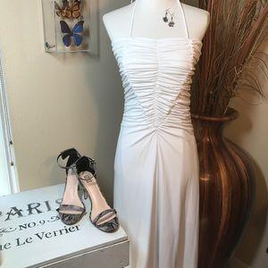 Victoria's White Halter Summer Dress 6 Ruched Midi